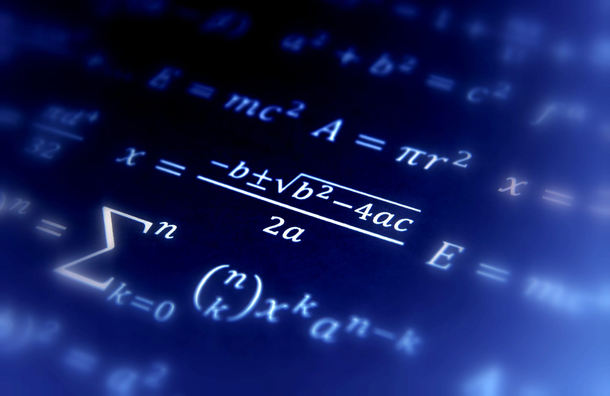Math geometry background with formulas